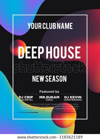 Party poster for night club. Template of invitation for summer party. Modern marble flyer design. Trance, Deep house, electronic, silent party. Eps10 vector template. Abstract background.