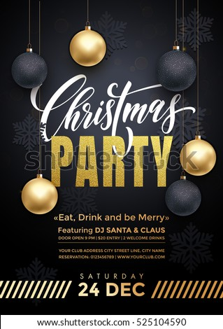 Party poster Merry Christmas holiday club invitation. Premium calligraphy lettering with gold ornament decoration of golden ball and gold snowflake on luxury black background