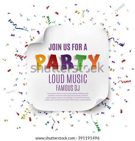 Party poster template with realistic curved banner on celebration background with colorful confetti and ribbons . Vector illustration.