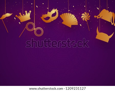 Party props hang on purple background for carnival or festival celebration concept.