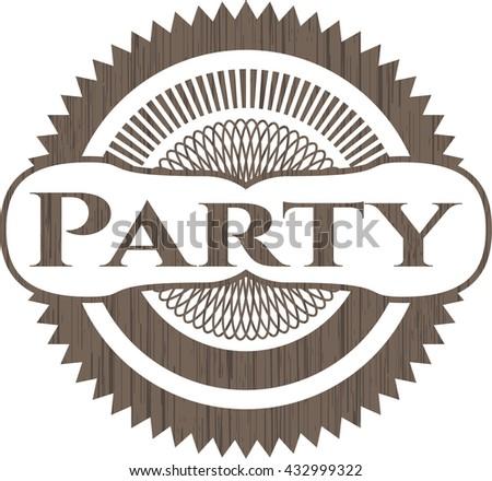 Party retro style wooden emblem