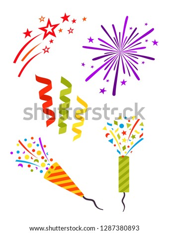 Party set. Complimentary explosion, confetti and streamers, fireworks. Conic confetti party popper. Decorative elements for celebration design.