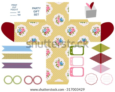 Gift Box Template Abstract Floral Shabby Chic Pattern Classic Country Roses