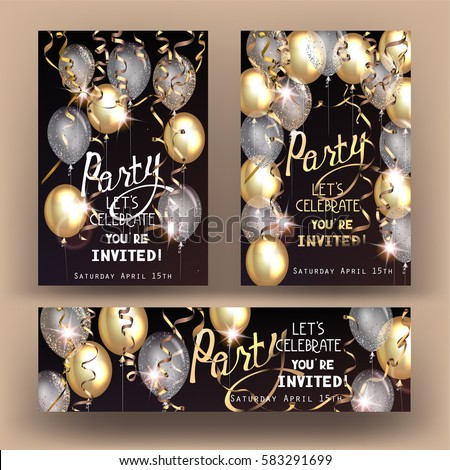 Party shiny banners with air balloons and serpentine. Vector illustration