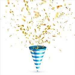 Party shiny hat with ribbon and confetti. Holiday decoration.Celebration.Birthday.Vector illustration on white background. Set.