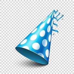 Party shiny hat with ribbon. Holiday decoration.Celebration.Birthday.Vector illustration on transparent background.
