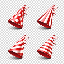 Party shiny hat with ribbon. Holiday decoration.Celebration.Birthday.Vector illustration on transparent background. Set.