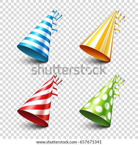 Party shiny hat with ribbon. Holiday decoration.Celebration.Birthday.Vector illustration on transparent background. Set. stock photo