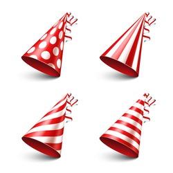 Party shiny hat with ribbon. Holiday decoration.Celebration.Birthday.Vector illustration on white background. Set.