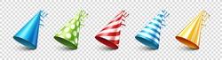 Party shiny hat with ribbon on transparent background. Holiday decoration. Birthday celebration. Vector illustration.