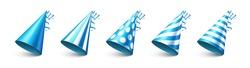 Party shiny hat with ribbon on white background. Holiday decoration. Birthday celebration. Vector illustration.