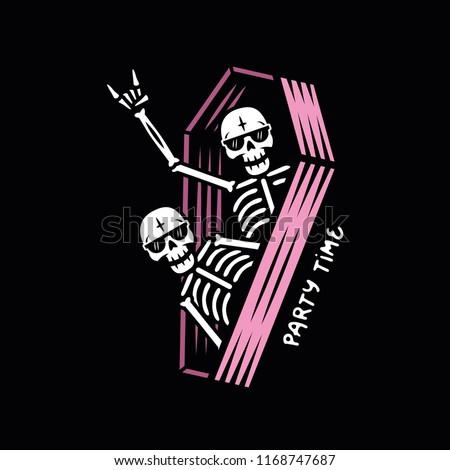PARTY SKELETONS WITH SUNGLASSES IN COFFIN COLOR BLACK BACKGROUND ストックフォト ©