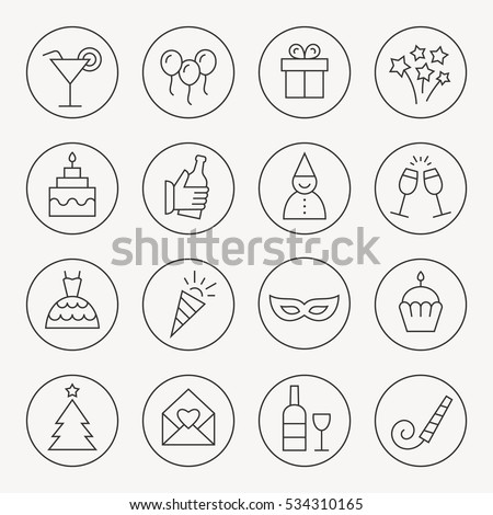 Party thin line icon set