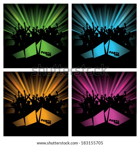 Party Time flyers with party people silhouettes