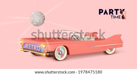 Party time. Retro convertible car pink color. Vintage Luxury stylish car with an open top. Minimal poster, web banner. Disco ball Realistic 3d design of object. Vector illustration