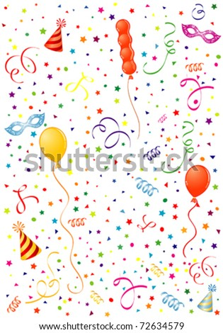 Party Time theme with Balloon, streamer, carnival mask and hat, element for design, vector illustration
