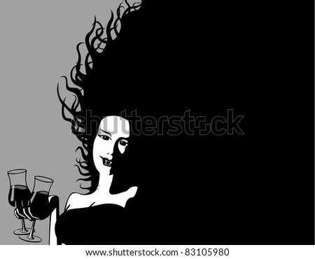 Halloween Invitation : Female Vampire offers a drink : Shutterstock