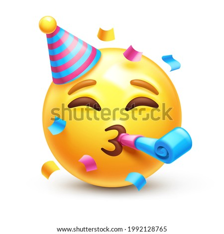 Partying emoji. Emoticon with party horn and hat, celebrating 3D stylized vector icon