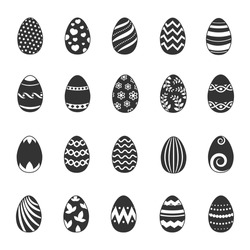 Paschal egg icons. Vector easter eggs with flowers, lines and curls patterns. Monochrome easter egg decorated with pattern illustration