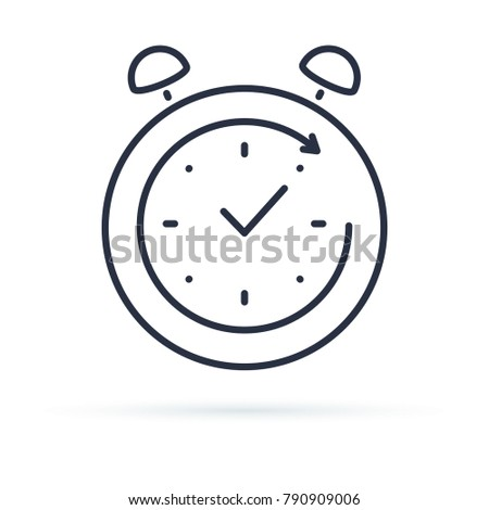 Passage time line icon, outline vector sign, linear style pictogram isolated on white. Clockwise clock symbol, logo illustration. 24 to 7 work concept