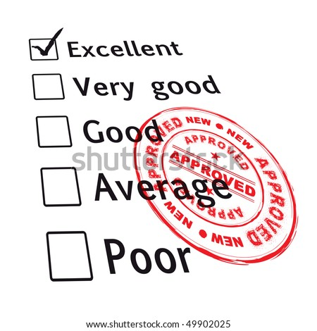 passed your business evaluation with excellent grade and ink stamp