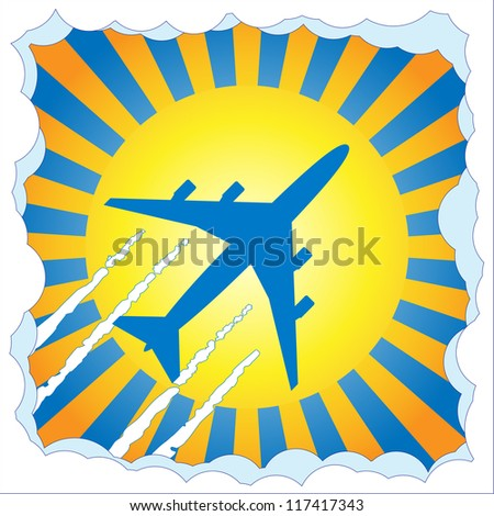 Passenger aircraft flying in blue sky with sun