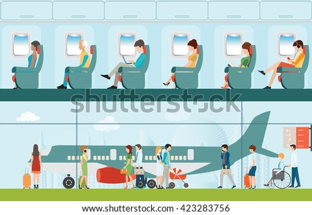 Passenger airline in airport terminal and Airline interior with plane seat and airplane passengers on the flight business travel vector illustration.