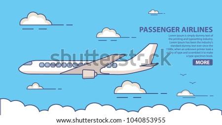 Passenger airlines. Jet plane  blue sky civil aviation airliner.Commercial airliner travel.Poster flat line art vector.