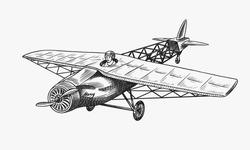 Passenger airplane corncob or plane aviation travel illustration. Engraved hand drawn in old sketch style, vintage transport.