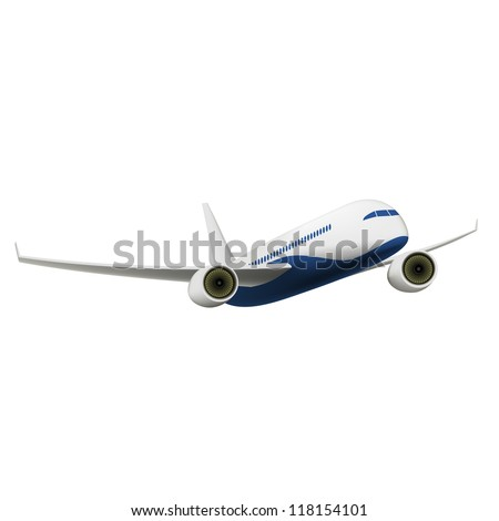 Passenger Airplane isolated on white. Vector Illustration