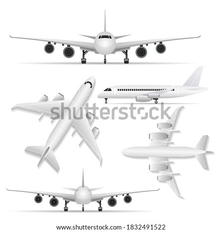 Wall mural Passenger airplane set. Isolated jet plane front, back, side, top view icons. Passenger airplane aircraft transport collection. Air transportation, aviation and aeroplane travel vector illustration