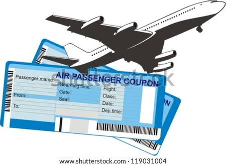 passenger airplane silhouette on a two boarding coupons background