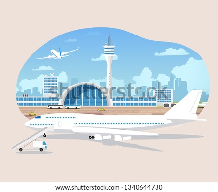 Passenger Airplane Waiting to Flight on Runaway Cartoon Vector. Airport Terminal with Dispatcher Tower Illustration. Modern Metropolis Aerodrome or Transport Hub. Traveling on Air Transport Concept