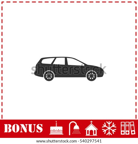 Passenger car icon flat. Simple vector symbol and bonus icon
