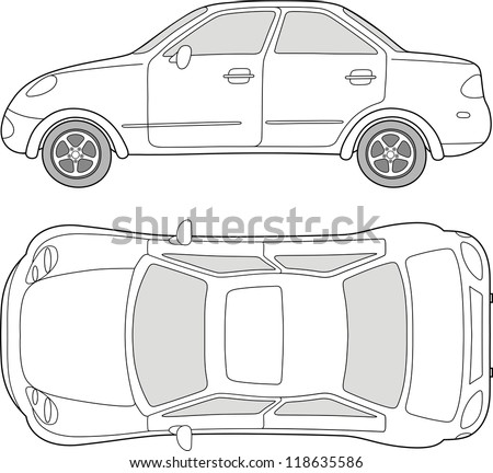 Passenger Car Outlined Top Side View Isolated On White Background