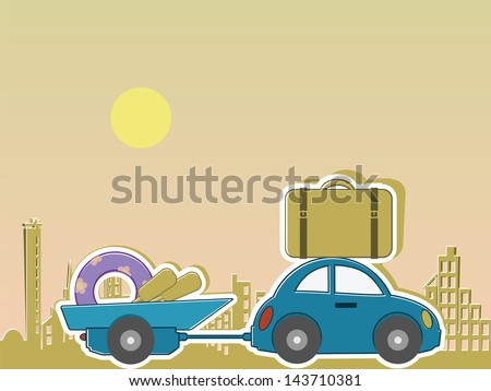 passenger car with a caravan and a load of for recreation travels on city background