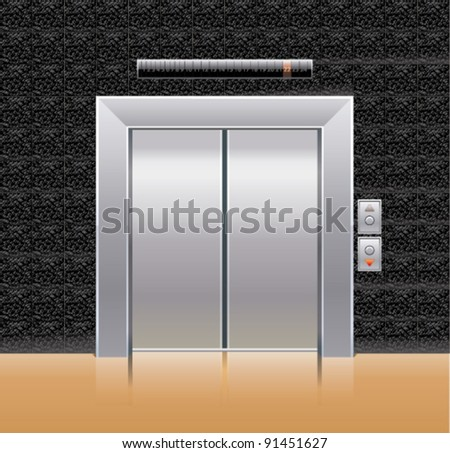 Passenger elevator with closed doors. - stock vector