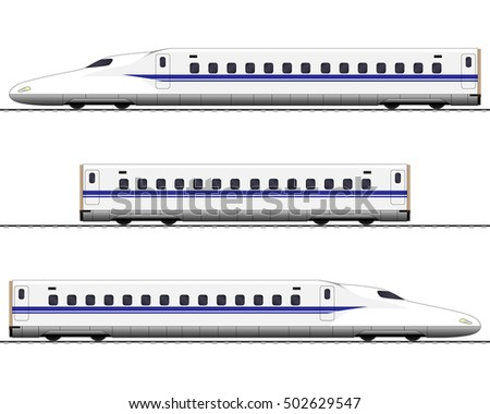 Passenger express train. Railway carriage. bullet