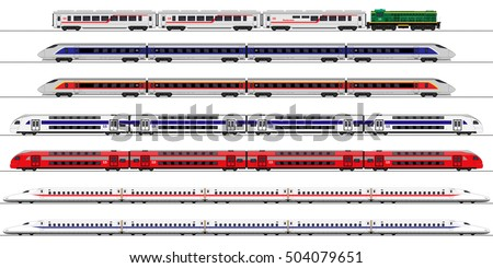 Passenger express train. Railway carriage. set