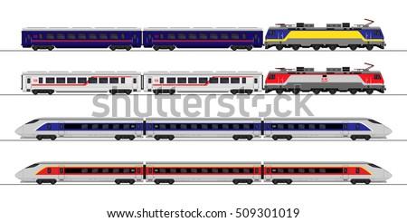 Passenger express train. Railway carriage. set