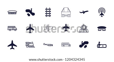 Passenger icon. collection of 18 passenger filled and outline icons such as plane, escalator, escalator up, escalator down. editable passenger icons for web and mobile.