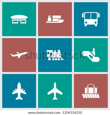 Passenger icon. collection of 9 passenger filled icons such as plane, airport bus, locomotive, luggage belt, escalator down. editable passenger icons for web and mobile.