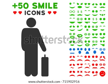 Passenger icon with colored bonus emoticon symbols. Vector illustration style is flat iconic elements for web design, app user interfaces, messaging.
