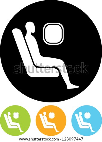 Passenger. Man at airplane - Vector icon isolated