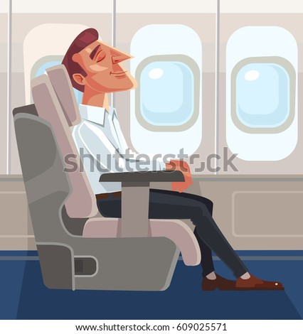 Passenger man character sitting in chair and relax in business class. Vector flat cartoon illustration