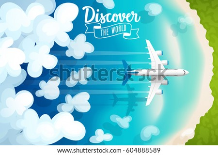 Passenger plane flying above clouds and tropical beach, travel poster. Vector illustration.