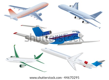 Passenger planes. Vector illustration