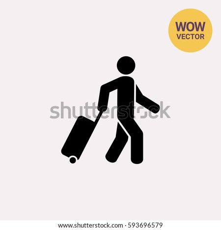 Passenger Pulling Rolling Bag Icon