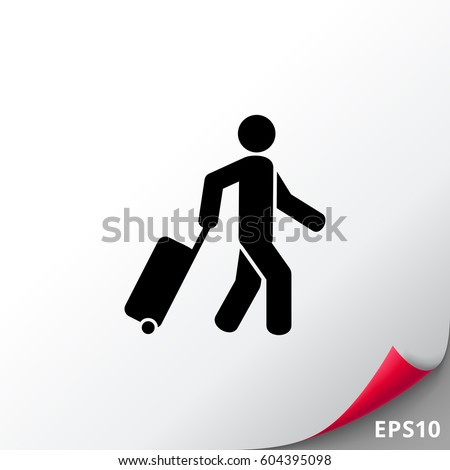 Passenger Pulling Rolling Bag Icon