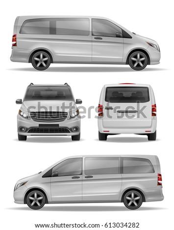 Passenger Realistic Van vector template for Advertising. Modern passenger transport. White Mini Bus Hi-detailed Van Mockup.